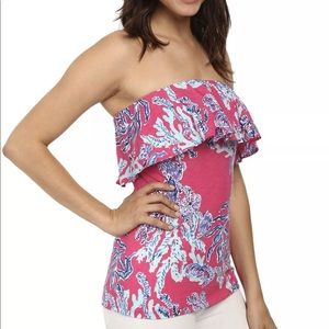 Lilly Pulitzer pink Wiley tube top